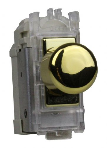 Varilight GH0V Powergrid Module Brass 2-Way Push-On/Off Switch (Dummy Dimmer) 6A